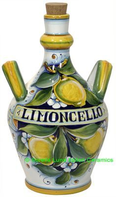 Gorgeous Limoncello Jug! My old jug sprang hairline cracks while in the freezer - we'll see how this one holds up. #italy #travel #style