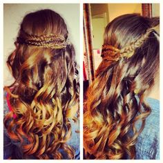 Fishtail braids with curls.  Half up half down updo