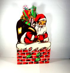 Vintage Wood Christmas Card Box, Santa Going Down Chimney, Mid Century Holiday Decor (9015)