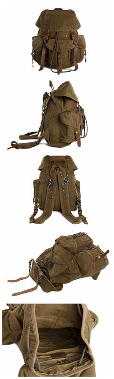 Moshi Army Green High Quality Waxed Canvas Backpack, School Backpack, Rucksack