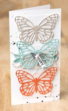 Make a beautiful masterpiece, like this one, using the new Butterfly Basics Stamp Set and Butterflies Thinlits Dies.