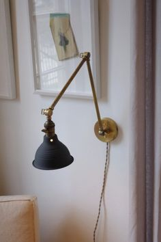 Industrial Articulating Brass Wall Lamp with Black Shop Shade - Task Light - Factory Light - Handmade Brass Lamp Industrial Bathroom Lighting, Industrial Style Lighting, Bedside Lighting, Modern Lighting, Industrial Loft, Bedside Lamp, Vintage Industrial, Wall Mounted Bedside Lights, Industrial Bookshelf