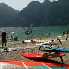 Fantastic windsurf spot at Torbole, Garda Lake. One of the best spot for windsurfing on the lake in Italy. This area is young and you can enjoy many types of sports. In this area you can practice: windsurfing, kitesurfing, climbing, rafting, downhill