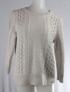ANN TAYLOR LAOFT Medium Beige Oatmeal 3/4 Sleeve Cable Knit Sweater #Alfani #BoatNeck