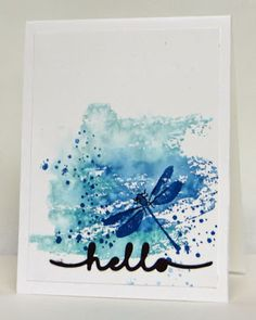 Stampin' Up! Awesomely Artistic stamp set with Watercolor Wash Background stamp. Watercolor type background in shades of blue and green with blue dragonfly. Clean and simple card. Dragonfly card. Handmade by Lisa Young, Add Ink and Stamp
