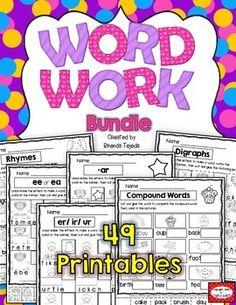 Word Work Bundle: 49 printables to cover 33 skills!