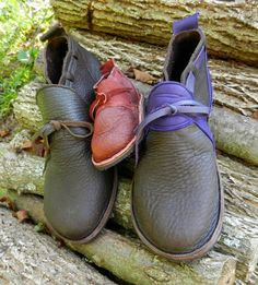 "Handmade Leather Shoes - purple deer on bullhide,or brown sheepskin trim - ""NO SHOES"" Vibram Sole  - Custom Made or stock sizes"