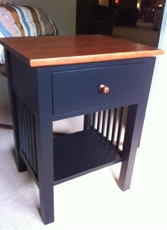 """Shaker Cherry Nightstand """"Black and Tan"""" by Colonial Furniture (570) 374-8091"""