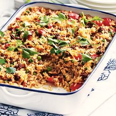 Oven-Baked Mince and Cheese Risotto Beef Dishes, Rice Dishes, Casserole Dishes, Main Dishes, Rice Recipes, Recipies, Dinner Recipes, Baked Banana, Orzo
