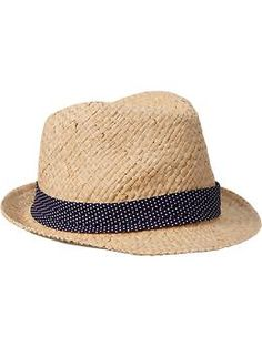 Women's Polka-Dot Trim Straw Fedoras  Available at Old Navy $14.94