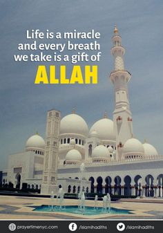 #Life is a miracle and every breath we take is a gift of #Allah. #allahuakbar #islamic #islamicquotes #wordoftheday #muslim #muslimquote #wisdom #inspirational