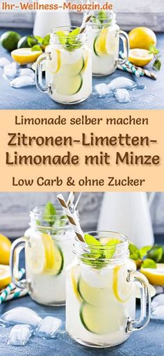 Zitronen-Limetten-Limonade mit Minze selber machen: Low-Carb-Rezept für selbstg… Make lemon-lime lemonade with mint yourself: low-carb recipe for homemade lemonade without sugar – healthy, low-calorie, quick and easy … free it Yourself Easy Cocktails, Cocktail Recipes, Refreshing Drinks, Summer Drinks, Smoothie Recipes, Smoothies, Low Carb Recipes, Healthy Recipes, Homemade Lemonade
