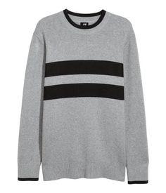 Knit Sweater | Grey melange/black | MEN | H&M US