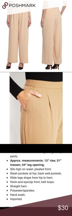 """NWT tan crepe wide leg high rise trousers NWT tan crepe high rise, wide leg trousers. See photos for description. Beautiful and in perfect condition! Measurements: inseam approx 29"""" waist approx 13"""" rise approx 14"""" Romeo & Juliet Couture Pants Trousers"""