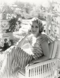 Mary Pickford in vintage striped dress c. 1930s