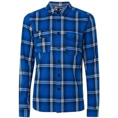 3538162b42e511 TOPMAN Bright Blue Check Overshirt (175 ILS) ❤ liked on Polyvore featuring  men s fashion