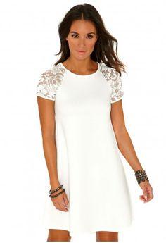Missguided - Florentina Scuba Swing Dress In White