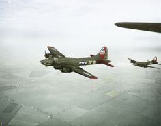 Boeing B-17 Flying Fortresses of the 324th Bomb Squad, 91st Bomb Group, 8th Air Force enroute to there target, Tours, France 5 January 1944. On the left is B-17F 42-29837 'Lady Luck' (DF-A) the replacement for the 'Memphis Belle' after it had completed its tour. On the right is B-17F 41-24490 'Jack the Ripper' (DF-C).