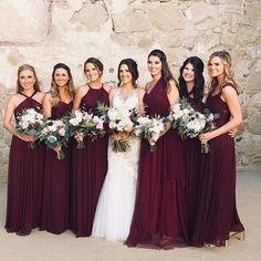 Christina Convertible Dress Cabernet Just in case! Wine Color Bridesmaid Dress, Maroon Bridesmaid Dresses, Wedding Bridesmaids, Cranberry Bridesmaid Dresses, Christmas Bridesmaid Dresses, Wedding Attire, Wedding Dresses, Dresses Dresses, Bride Maid Dresses