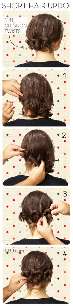 Mini Chignon Twists for Short Hair - I tried this on my daughter. You definitely need to make sure the bobby pins are in there securely as this isn't the most kid-proof hairdo. It turned out really cute, though, and was easy to do.