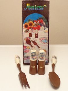 Ceramic Wooden Hostess Server Set With by LuliesVintageShoppe