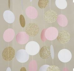 Details about Pink White and Gold Glitter Circle Polka Dots Paper Garland Banner 10 FT Banner Rosa Weiß und GoldGlitter-Kreis-Tupfen-Papiergirlanden-Fahne 10 ft-Fahne Pink Und Gold, Pink White, White Gold, Black White, Purple Gold, Black Silver, Blush Pink, Hot Pink, Color Black