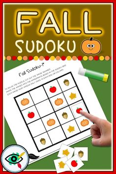 Fall season fun Sudoku games for kids. These Sudokus have been specially designed for beginning puzzle solvers.Include 2 puzzles with different images with three levels of difficulty: easy, medium and hard. Plus answers Easy Games For Kids, Online Games For Kids, Puzzle Games For Kids, Autumn Activities For Kids, Educational Games For Kids, Fall Crafts For Kids, Second Grade Games, Online Music Lessons, Lessons For Kids