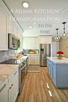 A dreary Miami kitchen goes from drab to fab!  #kitchenremodel #kitchendesign