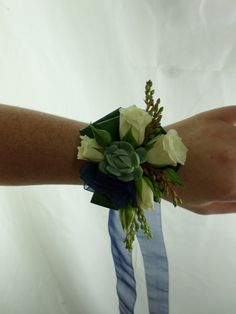 Ball corsage on navy blue ribbon. White roses and succulent. Created by Florist ilene Flowers Delivered, Blue Ribbon, White Roses, Gift Baskets, Beautiful Flowers, Succulents, Corsages, Hamilton, Navy Blue