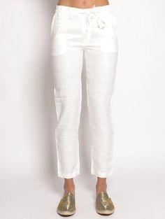ABIGAIL 23 - Pantalone in lino Bianco