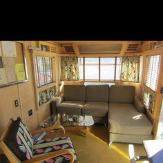 Vintage camper interior. I can't imagine my caravan being this nice. It'd seem like cheating.