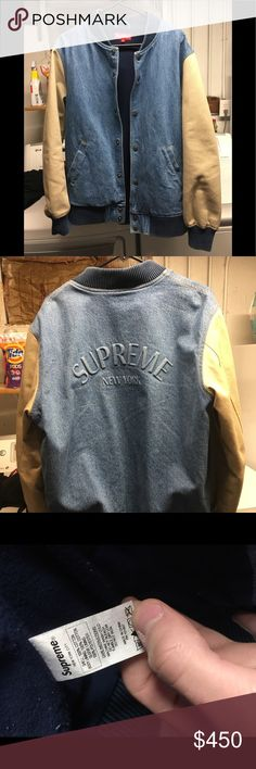 Supreme Denim Varsity Jacket 100% Authentic Bought from Supreme store in California No fading, rips, or stains Worn a few times Washed only by dry clean Open to any and all offers Supreme Jackets & Coats Bomber & Varsity