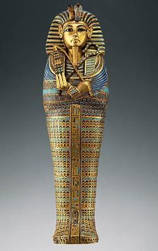 This is the front view of the 151/2-inch Viscera Coffin. This was specifically designed to hold King Tut's mummified liver, which was believed to be essential in the afterlife.