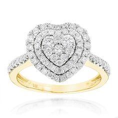 Diamantring Herz Pavee mit 1.00 Karat Diamanten in 585er Gelbgold
