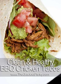 Slow Cooker BBQ Chicken Soft Tacos