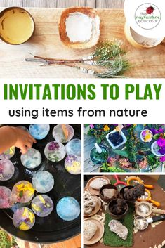 How to set up invitations to play using nature - ideas for educators! - Invitations to play using items from nature – invitations and setups for daycare, kindergarten, p - Forest School Activities, Nature Activities, Spring Activities, Family Activities, Outdoor Preschool Activities, Play Based Learning, Learning Through Play, Learning Toys, Learning Activities