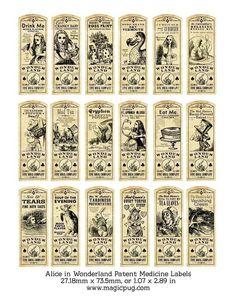 Alice in Wonderland Patent Medicine or Potion Label bottle digital collage sheet; magicpub on Etsy; $4.50