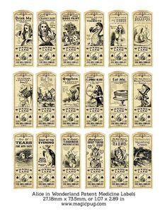 Alice in Wonderland Patent Medicine or Potion Label by magicpug, $4.50