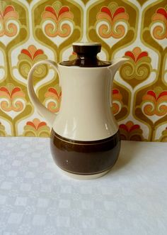 Your place to buy and sell all things handmade Pots, Brown Band, Brown Beige, Main Colors, Etsy Vintage, 1980s, My Etsy Shop, German, Camping