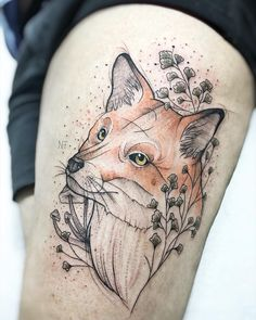 Tatuagem criada pela tatuadora Nathália Tattoo (nathaliatattoo) de Belo Horizonte, MG.    Clique e saiba mais sobre essa artista incrível e conheça outros trabalhos dela no Tattoo2me.    #colorido #tattoo #tatuagem #art #arte Mini Tattoos, Instagram, Animals, Tatoos, Images, Link, Fox Tattoos, Abstract Art Tattoo, Tattoo Man
