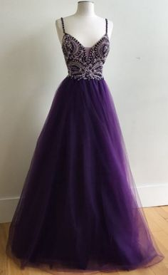 Beaded/Beading Prom Dresses, Purple A-line/Princess Prom Dresses, Long Purple Prom Dresses, Purple A-Line Ball Gown Spaghetti Straps Tulle Long Prom Dress with Beading Straps Prom Dresses, Beaded Prom Dress, A Line Prom Dresses, Wedding Party Dresses, Homecoming Dresses, Formal Dresses, Dress Prom, Long Dresses, Purple Prom Dresses