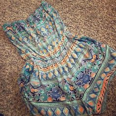 Romper by Angie Blue and orange design strapless romper great for summer ! Angie Other