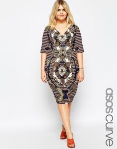 Image 1 ofASOS CURVE Wiggle Dress with Placed Floral Print