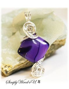 Purple Agate Necklace / Purple Jewelry / Wire by SimplyWired4u