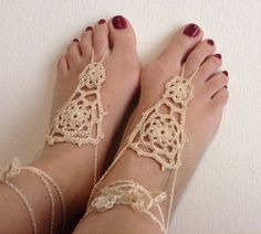 Crochet Barefoot sandals, Tan lace shoes, Barefoot sandal, Beach wedding, Destination wedding, Footless shoes, Bridesmaid shoes, Beach Shoes by TheSpinningJennyShop on Etsy
