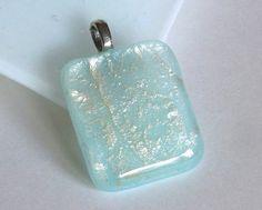 Aqua et argent verre pendentif par bprdesigns sur Etsy
