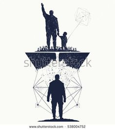 Father and son, concept of memory tattoo art.  Immortality of human life t-shirt design. Life tree. Memory of parents tattoo