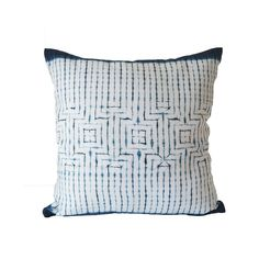 The clean design of this indigo dyed linen cushion is created using Japanese Shibori technique. The earliest example of this technique dates from the 8th century. - Fabric: Linen and indigo - Size: 18