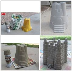 using plastic sand toys, a bag of concrete & spray paint . Concrete Spray Paint, Diy Concrete, Beach Sand Castles, Decor Crafts, Crafts For Kids, Sand Toys, Fairies Garden, Plastic Molds, Spray Painting