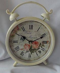 shabby vintage french chic cream pink rose belle maison metal mantel clock large